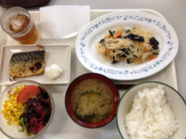 【本日のランチ】 五目ビーフンと塩サバ